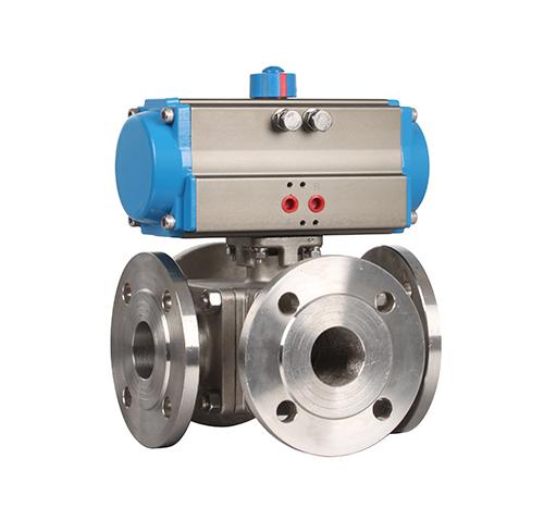 Flanged four-way pneumatic ball valve ZMAQ46F