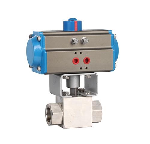High pressure threaded pneumatic ball valve