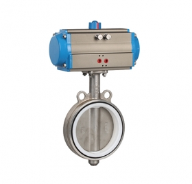 Fluorine-lined pneumatic stainless steel butterfly valve