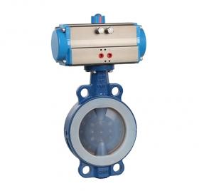 Wafer type fully lined PTFE pneumatic butterfly valve ZMAD71F46
