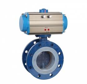 Flange type fully lined PTFE pneumatic butterfly valve ZMAD41F46-16C