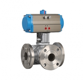 Q644/5F flanged three-way pneumatic ball valve