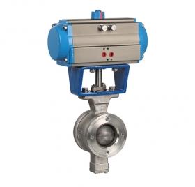 Wafer type V-type pneumatic ball valve ZMAVQ77H-16P