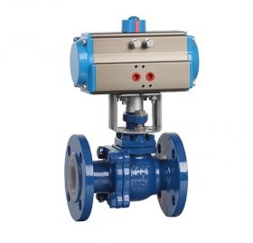 Flanged lining fluorine pneumatic ball valve ZMAQ41F46