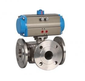 Flanged high platform three-way pneumatic ball valve ZMAQ45F