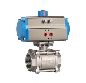 Q611F3 three-piece threaded pneumatic ball valve