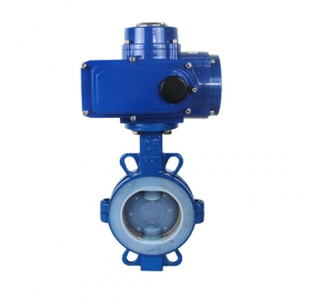 D971F4 lining fluorine on the clamp electric butterfly valve