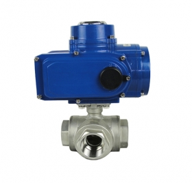 Three-way threaded electric ball valve