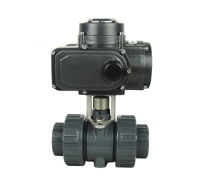 Threaded plastic electric ball valve
