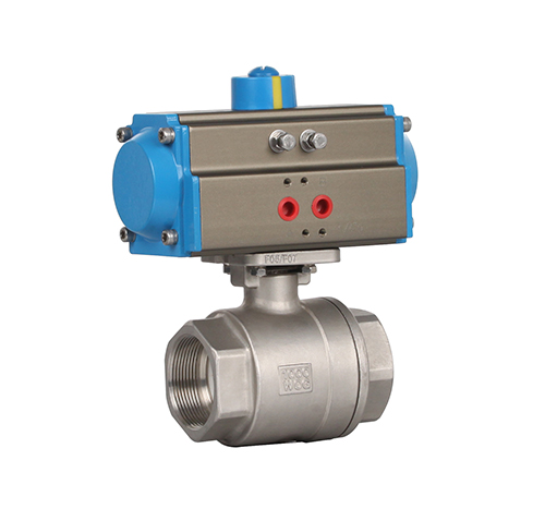 Two-piece threaded pneumatic ball valve features