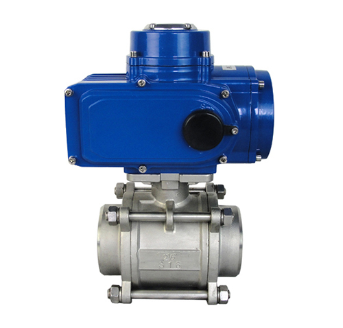 Three-piece threaded electric ball valve features